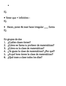 Realidades II, 1A Chapter Lesson Plan