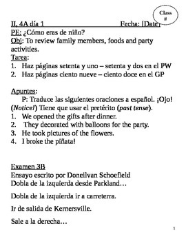 realidades II, 4A Chapter Lesson Plans