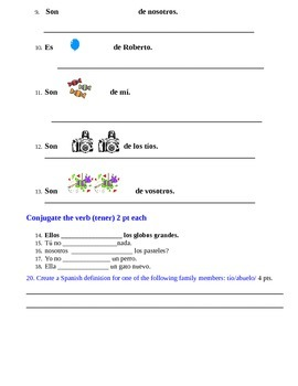 realidades lesson 5A test