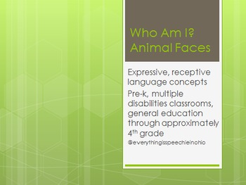 """""""Who Am I?"""" Receptive and expressive language activity masks wh questions"""