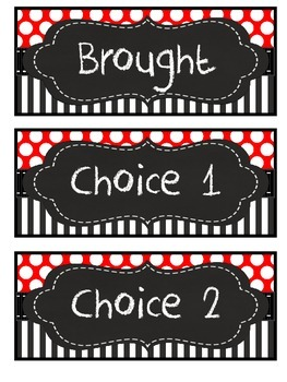 red, black, white, polka dot, stripe lunch choices /student numbers chalk frames