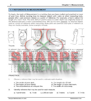 Math 10: Ch 1.1 Referents of Measurement