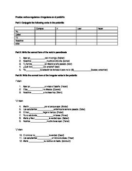 regular and irregular preterite quiz