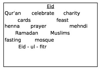religious days word mat, Eid, Diwali, Chinese new year, Easter, Christmas