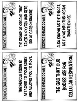 Respiratory & muscular systems card game FUN & EDITABLE! 6 7 8th TX TEKS 7.12B