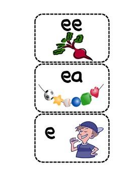 response cards Long e spelled e, ee, ea