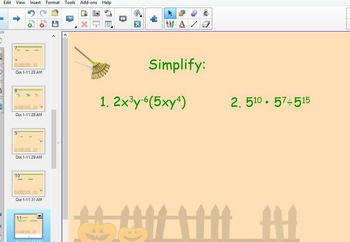 review exponent rules smartboard