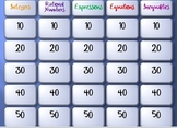 review game: integers, rational numbers, expressions, equations, inequalities