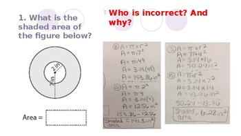 revising knowledge in area and circumference
