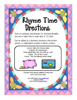 rhyme time RTI cards set 4