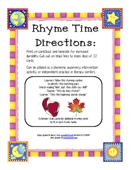 rhyme time RTI cards set 6
