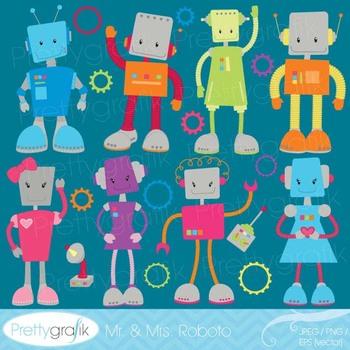 robot clipart commercial use, vector graphics, digital clip art - CL520