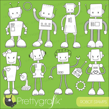 robot stamps commercial use, vector graphics, images - DS520