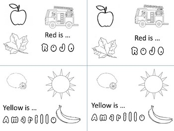 rojo amarillo review coloring sheet red yellow spanish elementary