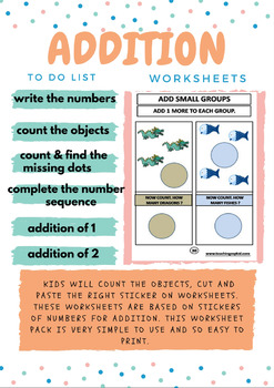 1st GRADE Math Addition: Unit 1 (with cut and paste stickers)