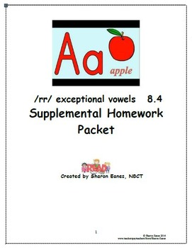 /rr/ exception to r-controlled vowels 8.4 Supplemental Homework Packet