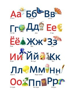 russian alphabet with pictures and vocabulary