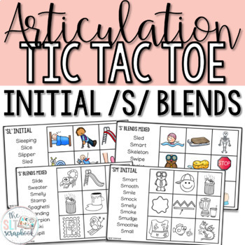 Word initial s blends- Articulation Tic Tac Toe