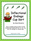 """s, es, ing & ed"" Inflectional Ending Cup Sort"