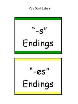 """s, es, ing & ed"" Inflectional Ending Cup Sort"