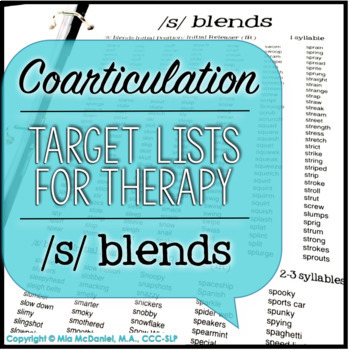 /s/, /s/ blends, & /z/ Sound Targets for Articulation Therapy {coarticulation}