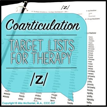 Articulation Therapy Sound Lists: /s, z/ & /s/ blends {featuring coarticulation}