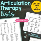 Articulation Therapy Word Lists: /s, z/ & /s/ blends {coarticulation}