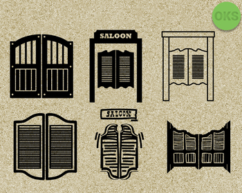 saloon door SVG cut files, DXF, vector EPS cutting file instant download