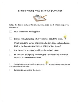 sample writing evaluation checklist