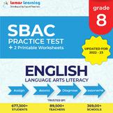 Smarter Balanced Practice Test and Worksheets Grade 8 ELA, SBAC Test Prep