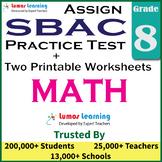 SBAC Practice Test, Worksheets - Grade 8 Math Smarter Balanced Test Prep