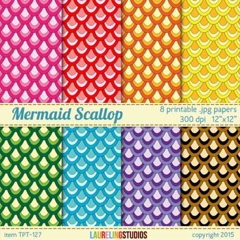 scalloped digital paper with mermaid/fish scale pattern