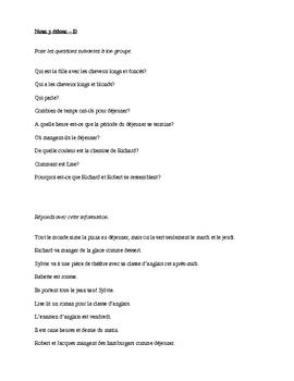 Scène - Nous y étions questions and answers activity