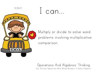 school Theme 4th Fourth Common Core Posters Math Mathemati