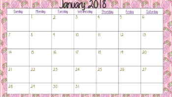 school year calendar 2017-2018 Lilly Pulitzer design pink pineapple