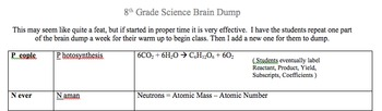 science Brain Dump for Middle School