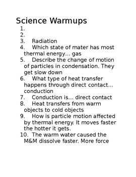 science warmups