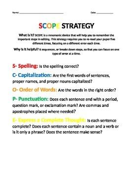 scope/writing editing strategy