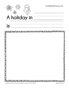 scrambled sentences: months of the year and blackline booklet