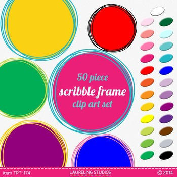 scribble frames - round digital clip art .png frames in bright colors TPT174