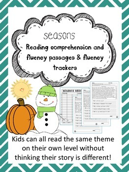 seasons fluency and comprehension leveled passages