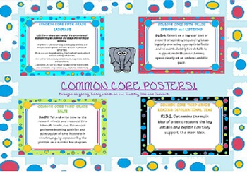 second grade common core ela and math posters (all standards)