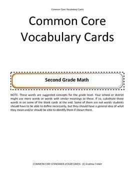 second grade common core standards vocabulary cards Math ELA