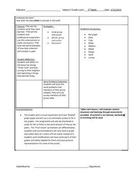 second or Third Grade Graphing TEAM model lesson plan