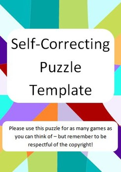 self correcting puzzle template for word or maths games