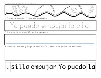 sentences about forces in Spanish