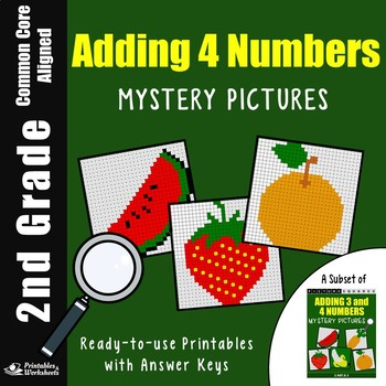 Addition Coloring Pages, 2nd Grade Math Adding 4 Numbers Worksheets