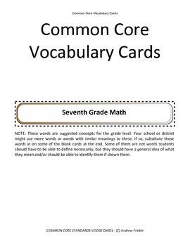 seventh grade common core standards vocabulary cards Math ELA