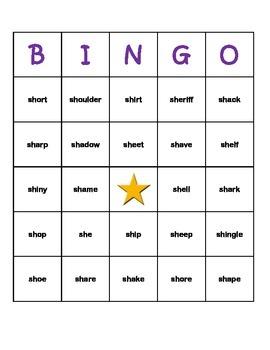 """sh"" Digraph Word Bingo"