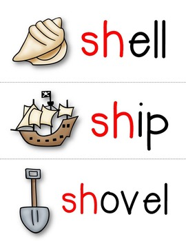 sh Digraph Word Cards